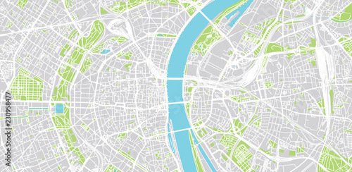 Urban vector city map of Cologne, Germany\