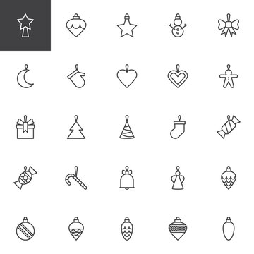Christmas Toys outline icons set. linear style symbols collection, line signs pack. vector graphics. Set includes icons as Xmas Bauble, Tree cone toy, Candy cane, Angel, Gingerbread man, Snowman, Star