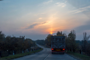 truck on the evening road