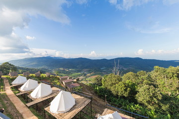 Beautiful view Camping tent on the hill in Chiang Mai, Thailand.