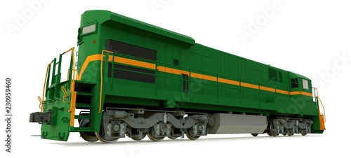 Modern green diesel railway locomotive with great power and