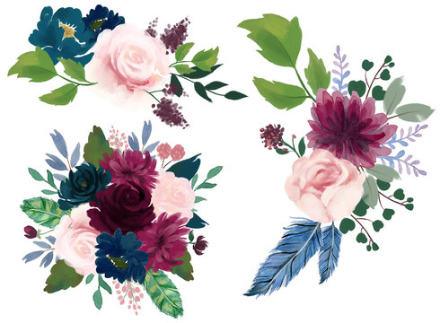 Watercolor vintage floral composition Pink burgundy and navy blue Floral Bouquet Flowers and Feathers Isolated for card bridal party