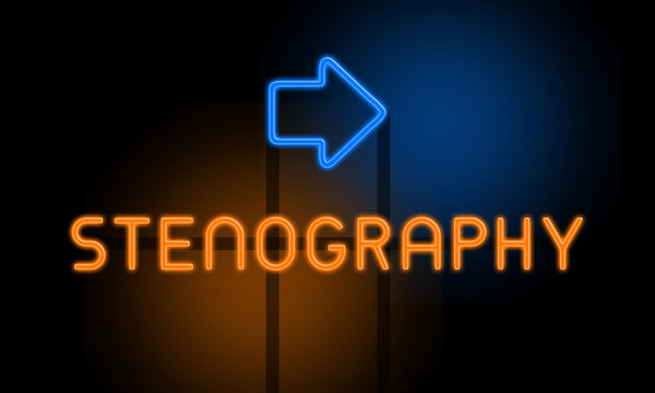 Stenography - orange glowing text with an arrow on dark background