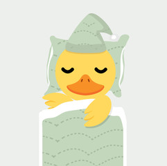 Cute  yellow duck chick  sleeping cartoon