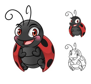 Ladybug cartoon character mascot design, including flat and line art design, isolated on white background, vector clip art illustration.