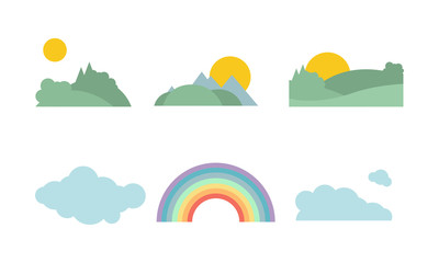 Summer forest, sun, cloud and rainbow, natural landscape elements vector Illustration on a white background