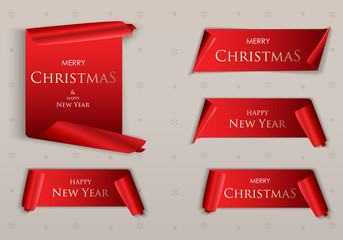 Merry Christmas realistic red paper banners. Banner with a congratulation. Merry christmas on a red scroll. Vector illustration EPS10
