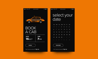 Sedan Cab Taxi Vector Illustration UX and UI For Phone Screen
