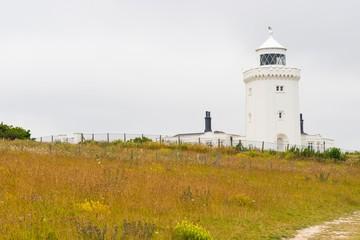 Foto auf AluDibond Leuchtturm South Foreland Lighthouse, Leuchtturm, Kreidefelsen, White cliffs of Dover, England, Großbritannien, Europa