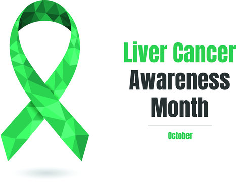 Liver Cancer Awareness Month (October) concept with jade awareness ribbon. Colorful vector illustration for web and printing.