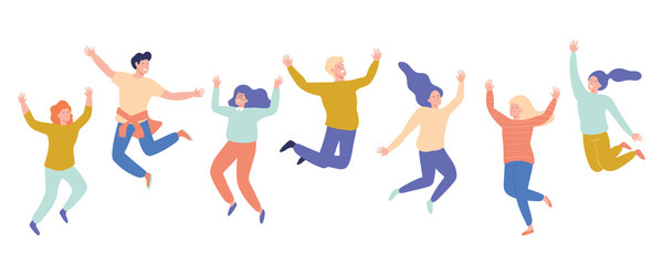 Group of young happy laughing people jumping with raised hands. Students. Vector flat cartoon illustration isolated on white background. Fototapete