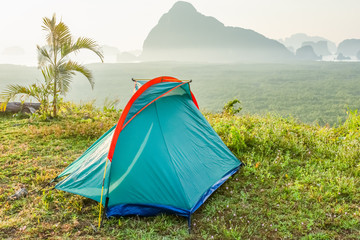 Tent with mountains in the background,Scenery in Thailand