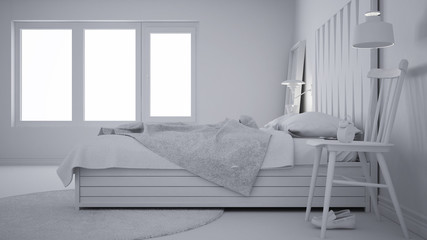Total white project of contemporary bedroom, bed with wooden headboard, scandinavian white eco chic design