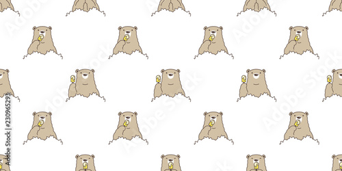 Bear seamless pattern vector Polar Bear ice cream cartoon forest wood isolated tile background repeat wallpaper