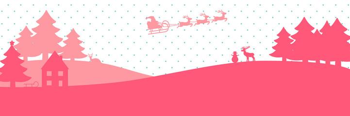 pinke Winterlandschaft mit fliegendem Weihnachtsmann