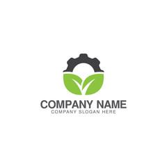Cog wheel and leaf logo design vector template