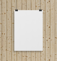 Blank white poster hanging up with clips mockup