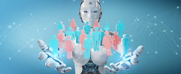 White cyborg controlling group of people 3D rendering