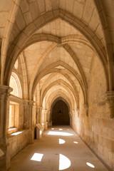 corridor with arches in Santa María de Huerta, Soria, Spain