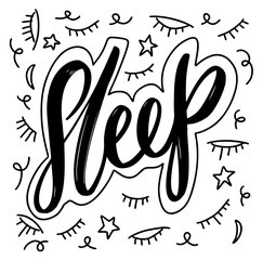 Sleep hand drawn vector letterting black ink isolated