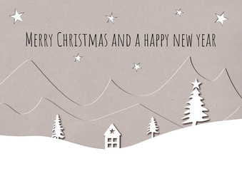 Pretty Christmas card design of paper cut outs