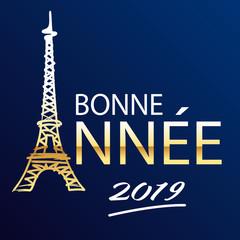 Carte de vœux 2019 représentant Paris et la tour Eiffel en lettres dorée sur fond bleu nuit