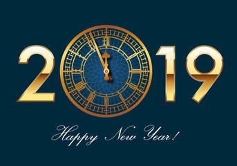 Carte de vœux 2019 représentant l'horloge de Big-Ben symbole de Londres et de l'Angleterre, en lettres dorée sur fond bleu nuit