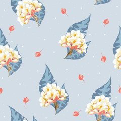 Seamless pattern with bouquet of flowers. Vector hand drawn illustration.