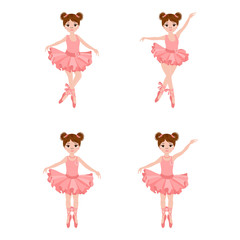 Vector set with cute little ballerinas in pink dresses, bows and ballet shoes. Vector illustration.