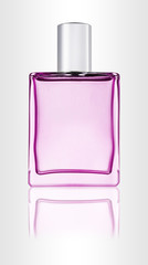 Shiny glass perfume bottle with reflection. Scent liquid.
