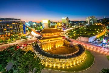 Aluminium Prints Seoul Night view at dongdaemun gate at seoul south Korea