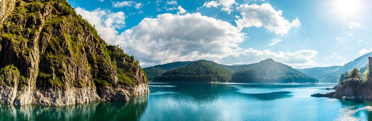 summer scenery. of Vidraru Lake and Dam glowing in sunlight. cr
