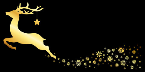 Reindeer With Star Snowflakes Gold/Black