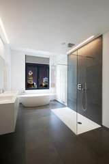 Bathtub in corian, Faucet and shower in tiled bathroom