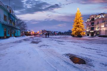 Uzhgorod, Ukraine - DEC 26, 2016: Christmas tree in the city center. Lovely postcard of Uzhgorod, Ukraine