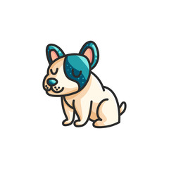 Little cartoon french bulldog
