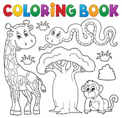 Coloring book African nature theme set 1