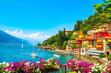 Wall Murals European Famous Place Varenna town, Como Lake district landscape. Italy, Europe.