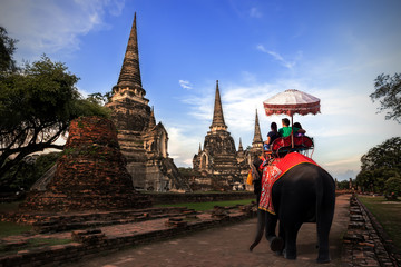 Foreign tourists Elephant ride to visit Ayutthaya, There are ruins and temple in the Ayutthaya period.Concept is Travel in temple phar sri sanphet.