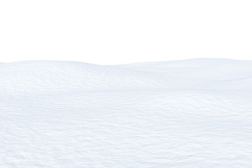 Snow field with smooth surface isolated