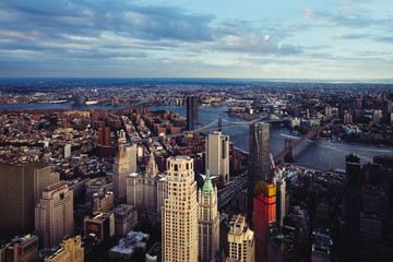 Aerial view of lower Manhattan looking at the Brooklyn bridge, NYC USA
