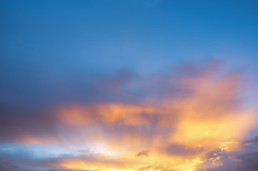 The magic of the sky and clouds at sunset background