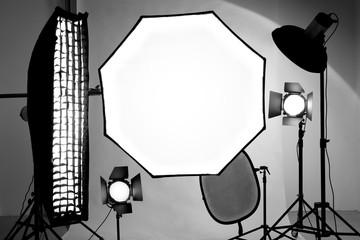 Studio equipment tools. Reflector, soft box, octobox for shooting indoors