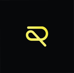 Initial letter P R PR RP minimalist art logo, gold color on black background.