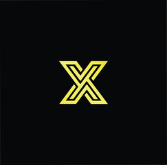 Initial letter X XX YX XY minimalist art logo, gold color on black background.
