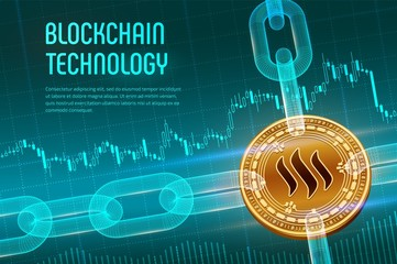 Steem. Crypto currency. Block chain. 3D isometric Physical golden Steem coin with wireframe chain on financial background. Blockchain concept. Editable Cryptocurrency template. Vector illustration.