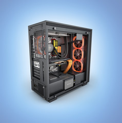 Open computer with red lighting effects and water cooled cooling system on blue gradient background 3d render