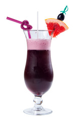 grape juice decorated with grapefruit. purple drink in a tall glass decorated with slice of fruit and straw