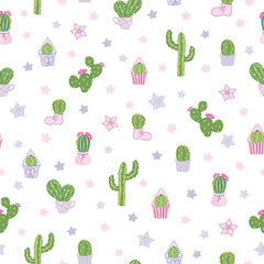 Vector colorful cacti tea party seamless pattern with white background. Cute design with wild and houseplant cacti in pots, boots, muffin cups. Excellent for kids room decor, fabric, wallpaper.