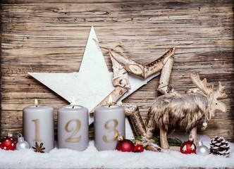 Weihnachtskarte Advent Elch Kerzen